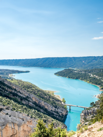Viewpoint of entrance of  Lake of Sainte-Croix, man-made construction lake, in Alpes-de-Haute-Provence in France