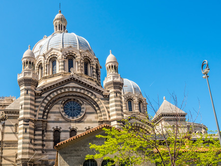 Marseille cathedral, one of the largest cathedral in France, Byzantine-Roman style catholic church, located on old port of Marseilles