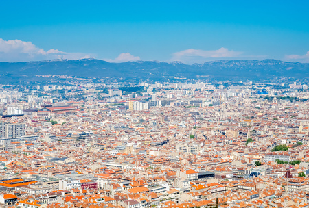 Cityscape landmark viewpoint of Marseille, from Notre-Dame de la Guard catholic church, under clear blue sky in France