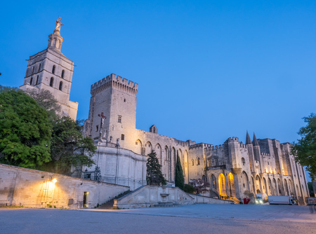 Cathedral of Our Lady of Doms or Avignon Cathedral with statue of Virgin Mary near Papal Palace in Avignon, France under twilight evening sky