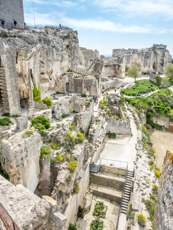 Hares Burrow, or �trou aux li�vres, is fortress built into rocky mountains in Les Baux-de-provence in France Stok Fotoğraf