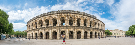 NIMES, FRANCE - APRIL 11 : Panoramic view of exterior architecture of Arena of Nimes, the ancient Roman amphitheater, in France, on April 11, 2017.