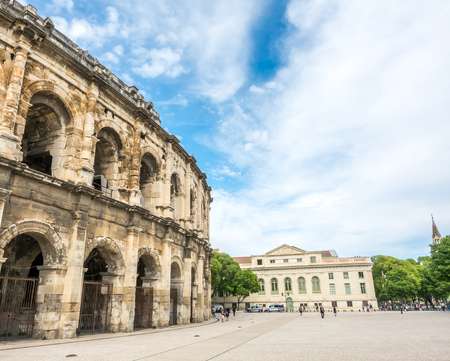 Exterior architecture of Arena of Nimes, ancient Roman amphitheater, in France