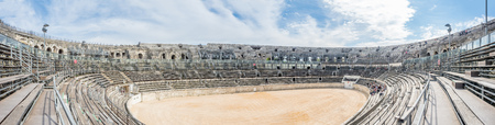 Interior architecture of Arena of Nimes, ancient Roman amphitheater, in France