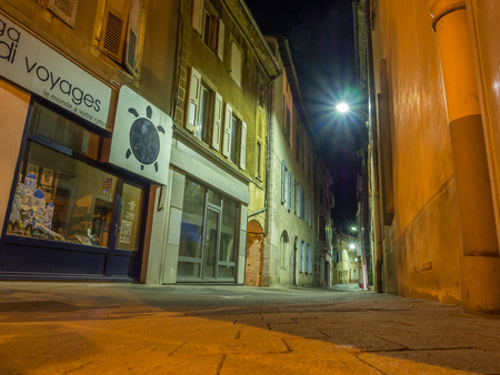 DIE, FRANCE - APRIL 12 : Night scene of buildings and architecture in Die city, country small town in France, on April 12, 2017. Editorial