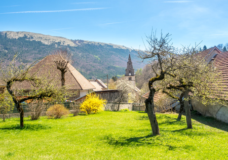 Buildings of house in Chichilianne town, small town in valley, countryside of France, under clear blue sky in spring season, with unique mountains in background