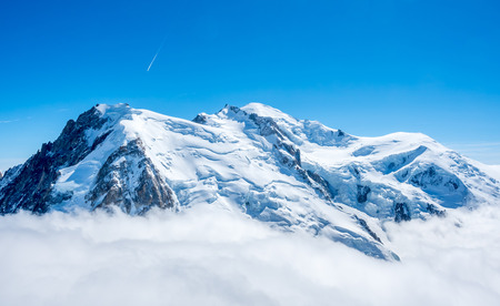 Viewpoint around top of Mont Blanc mountain peak, highest peak of Europe, in Chamoix Mont-Blanc town, with freeze snow view and cold climate, in France Stock Photo