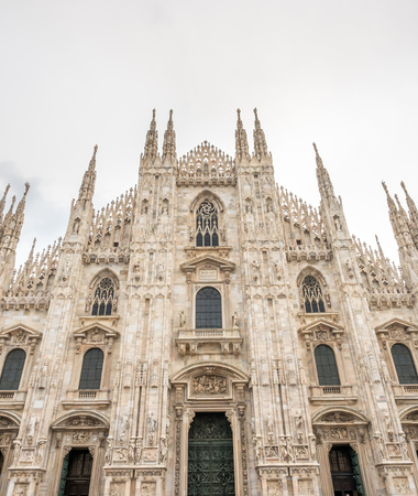 Exterior architecture of Milan Cathedral, known as Duomo di Milano, the largest church in Italy 에디토리얼