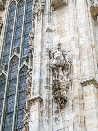 Exterior architecture of Milan Cathedral, known as Duomo di Milano, the largest church in Italy 스톡 콘텐츠