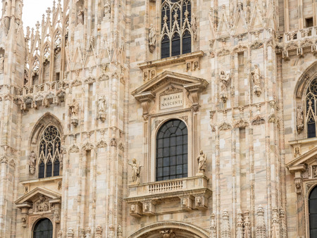 Exterior architecture of Milan Cathedral, known as Duomo di Milano, the largest church in Italy Stock Photo