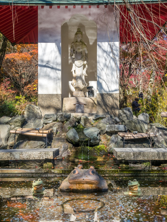 Kannon sculpture over small swamp with toad sculpture in Japanese temple