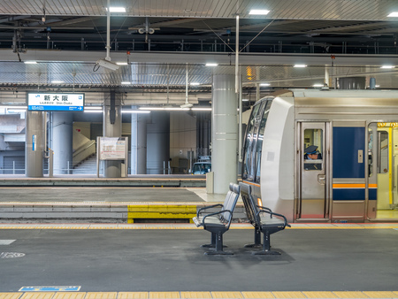 OSAKA, JAPAN - NOVEMBER 25 : Platform at Shin-Osaka station in morning light in Osaka, Japan, on November 25, 2017.