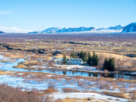 Thingvellir natural place in Iceland, is boundary between North American plate and Eurasian plate. Outstanding with many natural things. 版權商用圖片