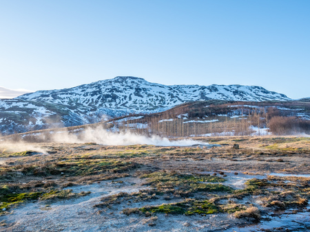 The Great geysir, periodically spouting hot spring, natural phenomenon and one of landmark in Iceland