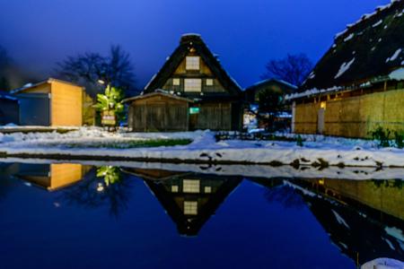 GIFU, JAPAN - NOVEMBER 26 : Gassho-zukuri house unique architecture in Shirakawa village, the UNESCO World heritage place, in early winter season in Gifu, Japan, on November 26, 2017. Editorial
