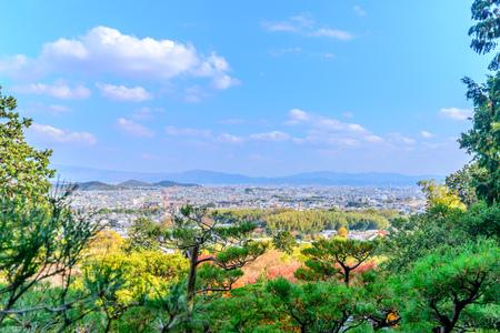 ARASHIYAMA, JAPAN: Arashiyama cityscape viewpoint from Jojakkoji temple landmark in autumn season, Japan