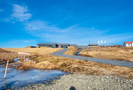 REYKHOLT, ICELAND - MARCH 8 : The KRAUMA geothermal nature baths building in Deildartunguhver hot spring near Reykholt city, Iceland, on March 8, 2018. Stockfoto
