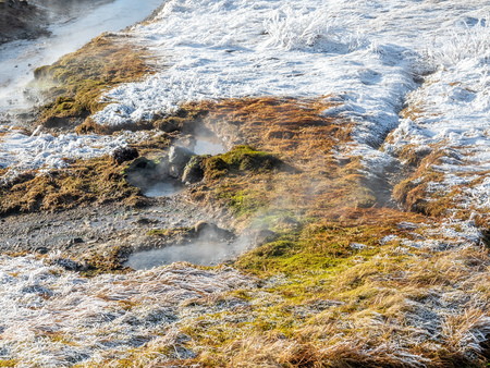 Beautiful scene in winter season around Deildartunguhver, the most power ful hot spring in Europe, underground heat energy for many cities in Iceland