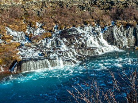 Hraunfossar waterall, Lava fall, one of unusual beautiful water cliff in Iceland Stockfoto