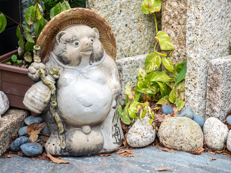 Tanugi doll sculpture, two legs standing tale raccoon, in outdoor Japanese style garden 写真素材