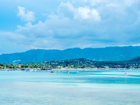 Seascape view under cloudy blue sky in summer season at Samui island, Thailand Imagens
