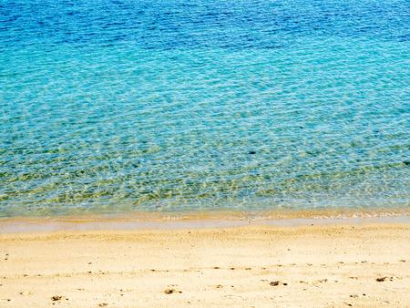 Seascape view with sand beach, beautiful view in Samui island, Thailand, summer season