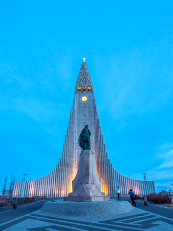 Hallgrimskirkja church, the most well-known church in Iceland, under twilight blue sky in Reykjavik, capital city of Iceland