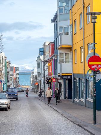 REYKJAVIK, ICELAND - MARCH 10 : Street view at downtown near Hallgrimskirkja church square in Reykjavik, Iceland, on March 10, 2018. Editorial
