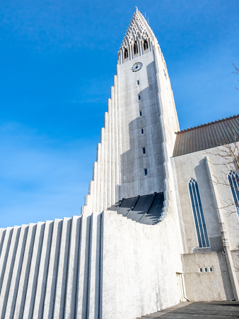 Hallgrimskirkja church, the most famous landmark place of Iceland, under cloudy morning blue sky in winter season, Reykjavik, Iceland Iceland Stock fotó
