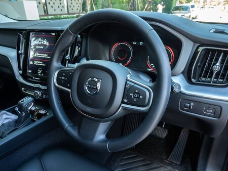 BANGKOK, THAILAND - JANUARY 1 : Steering wheel and dashboard with multifunction control in Volvo car new model, Bangkok, Thailand, on January 1, 2019. 스톡 콘텐츠 - 136920619