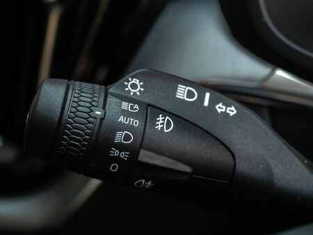 BANGKOK, THAILAND - JANUARY 1 : Turning signal with headlight controller in Volvo car new model in Bangkok, Thailand, on January 1, 2019. 스톡 콘텐츠 - 136920623