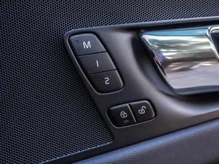 BANGKOK, THAILAND - JANUARY 1 : Memory passenger seat in door handle in Volvo car new model in Bangkok, Thailand, on January 1, 2019. 스톡 콘텐츠 - 136920625