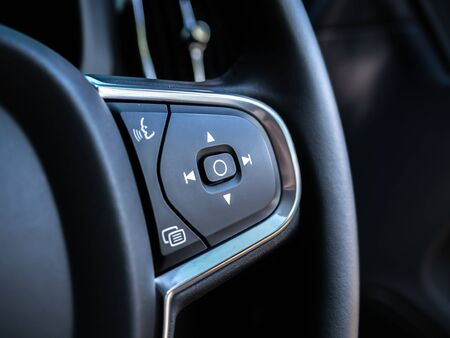 BANGKOK, THAILAND - JANUARY 1 : Steering wheel and dashboard with multifunction control in Volvo car new model, Bangkok, Thailand, on January 1, 2019. 스톡 콘텐츠 - 136920628