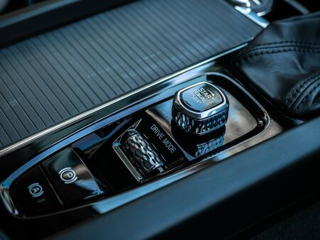 BANGKOK, THAILAND - JANUARY 1 : Ignition switch on gearbox control with Parking and auto brake button in Volvo car new model in Bangkok, Thailand, on January 1, 2019. 스톡 콘텐츠 - 136920636