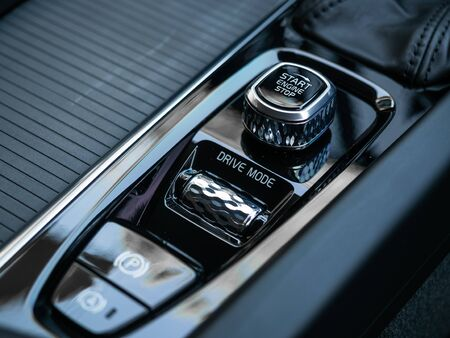 BANGKOK, THAILAND - JANUARY 1 : Ignition switch on gearbox control with Parking and auto brake button in Volvo car new model in Bangkok, Thailand, on January 1, 2019. 스톡 콘텐츠 - 136920637