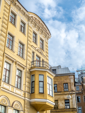 Building architecture along road in Saint Petersburg, Russia