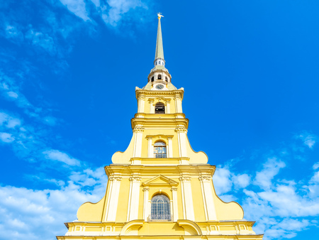 Saint Peter and Paul cathedral, the tallest bell tower in Orthodox church, located in St.Peter&Paul fortress in Saint Petersburg, Russia, under cloudy blue sky Stock Photo