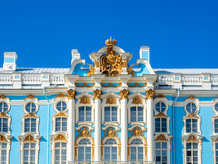 PUSHKIN, SAINT PETERSBURG, RUSSIA - SEPTEMBER 3 : Catherine Palace, Tsarskoye selo, classic beautiful architecture in Saint Petersburg, Russia on September 3, 2018, under blue sky