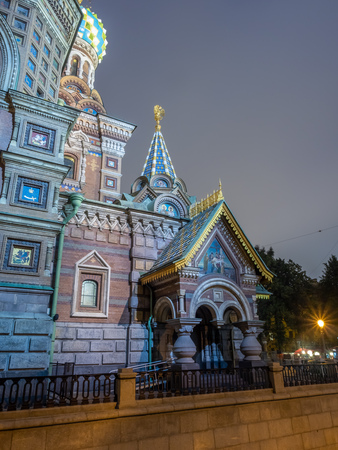 The Church of the Savior on Spilled Blood, landmark in Saint Petersburg, view from front entrance, under twilight evening with night light in Russia