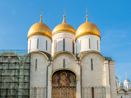 Dormition cathedral, or Cathedral of Assumption, in Cathedral square in Moscow Kremlin, summer season, in Moscow, Russia