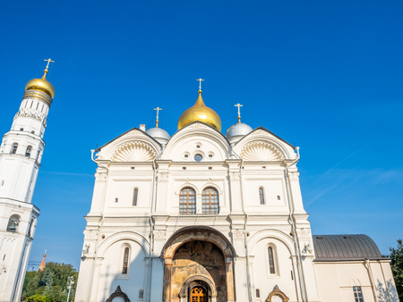 Front entrance of Cathedral of Archangel in Cathedral square, Moscow Kremlin, in Moscow, Russia