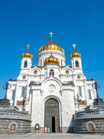 Cathedral of Christ the Saviour, the second tallest Orthodox church in the world, landmark of Moscow, Russia, under blue sky in summer season 스톡 콘텐츠 - 131838701