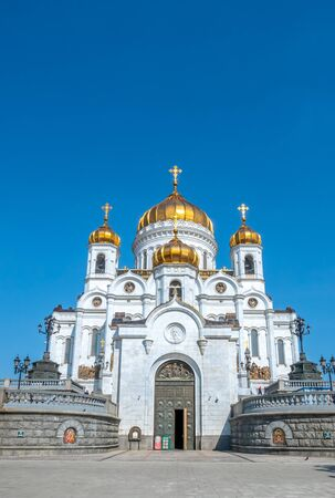 Cathedral of Christ the Saviour, the second tallest Orthodox church in the world, landmark of Moscow, Russia, under blue sky in summer season 스톡 콘텐츠 - 131838836
