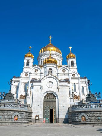 Cathedral of Christ the Saviour, the second tallest Orthodox church in the world, landmark of Moscow, Russia, under blue sky in summer season 스톡 콘텐츠 - 131840614