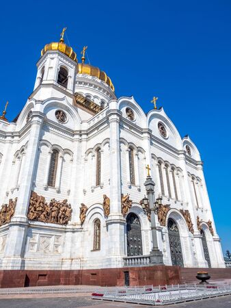 Cathedral of Christ the Saviour, the second tallest Orthodox church in the world, landmark of Moscow, Russia, under blue sky in summer season 스톡 콘텐츠 - 131840651