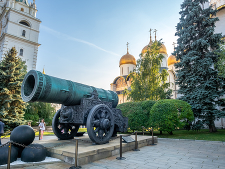 MOSCOW, RUSSIA - SEPTEMBER 5 : Tsar cannon, the world largest bronze cast barrel cannon, located in Kremlin, Moscow, Russia, on September 5, 2018. 에디토리얼