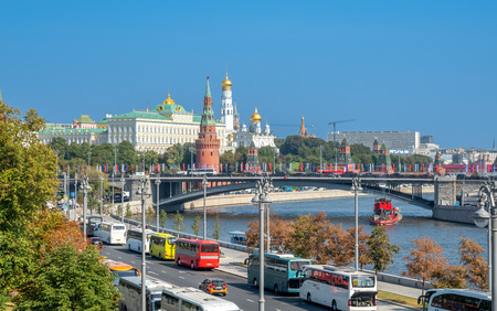 MOSCOW, RUSSIA - SEPTEMBER 6 : Cityscape view of Moscow along Moskva river on bridge near Cathedral of Christ the Saviour in Moscow, Russia, on September 6, 2018.