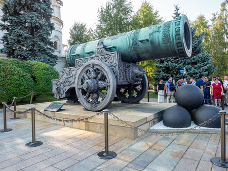 MOSCOW, RUSSIA - SEPTEMBER 5 : Tsar cannon, the world largest bronze cast barrel cannon, located in Kremlin, Moscow, Russia, on September 5, 2018. 스톡 콘텐츠 - 131367215