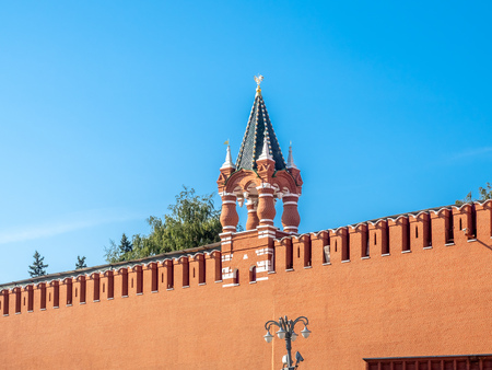The Tsar's tower, small corner tower on Kremlin wall near Red Square in Moscow, Russia, under blue sky in summer season 스톡 콘텐츠 - 131367241