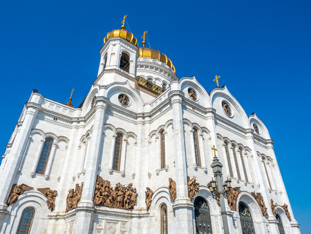 Cathedral of Christ the Saviour, the second tallest Orthodox church in the world, landmark of Moscow, Russia, under blue sky in summer season 스톡 콘텐츠 - 131367255